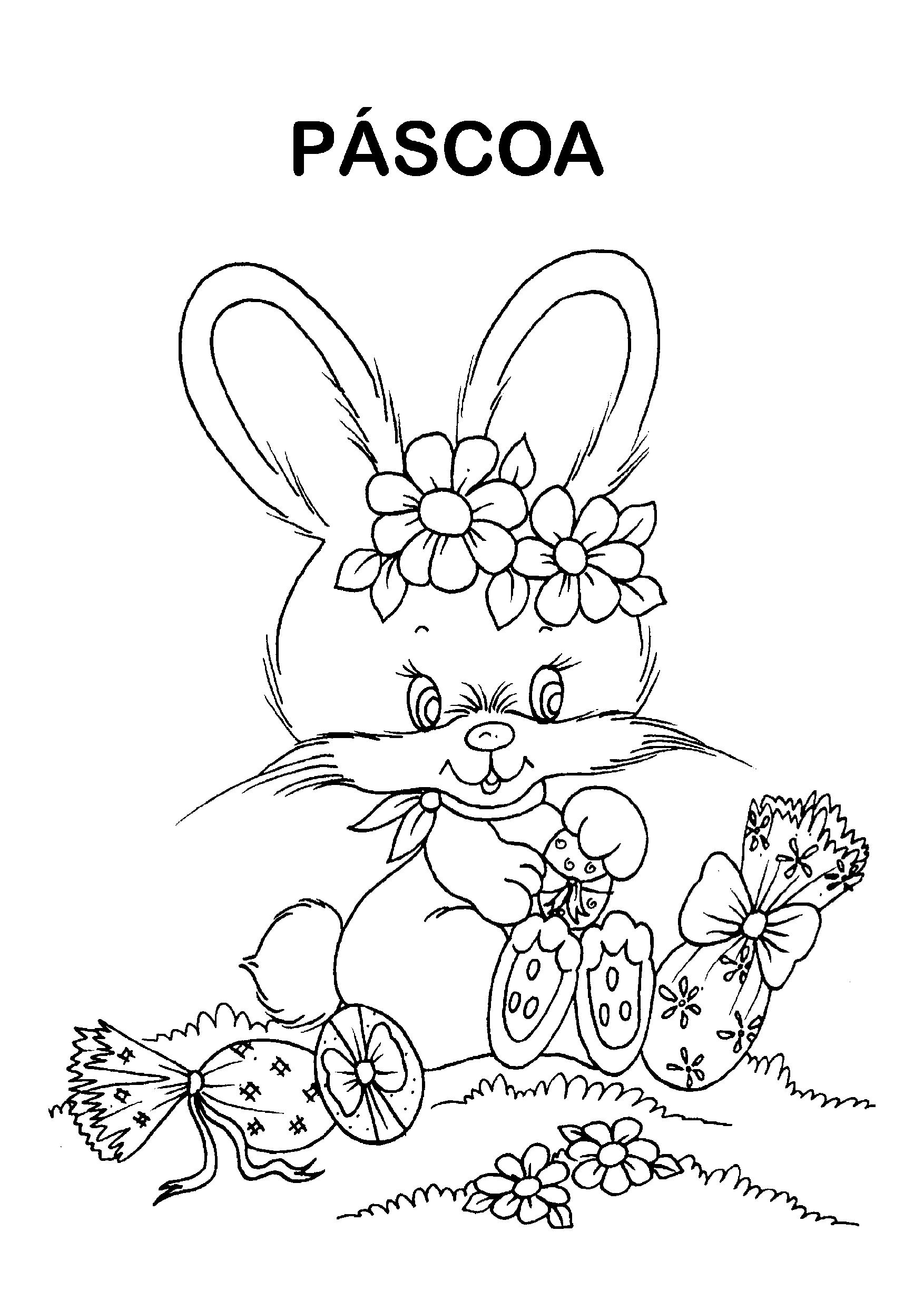 Coelhinha com ovos de Páscoa para colorir