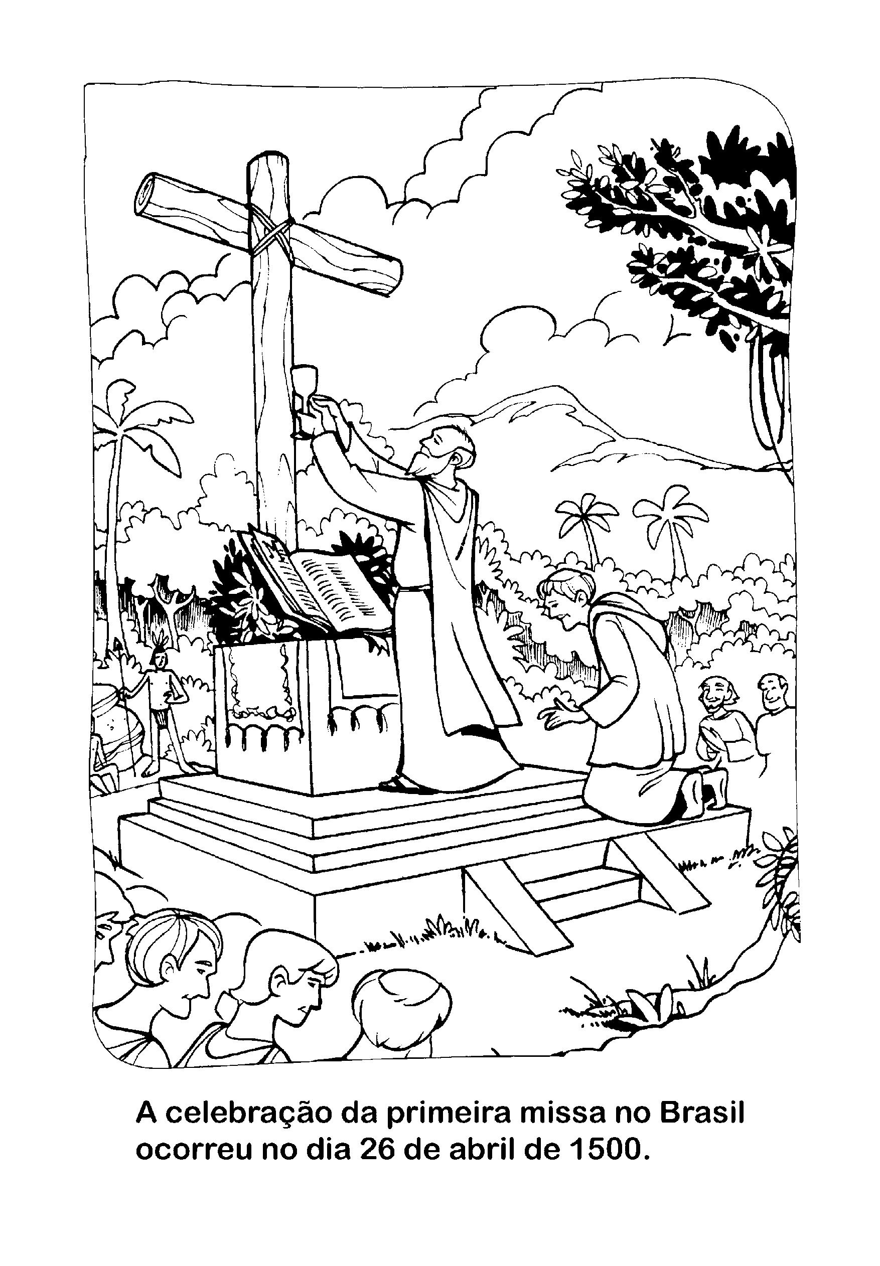 Desenho Para Colorir Da Primeira Missa No Brasil So Atividades