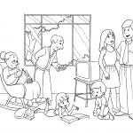 Desenho de uma família na sala de estar