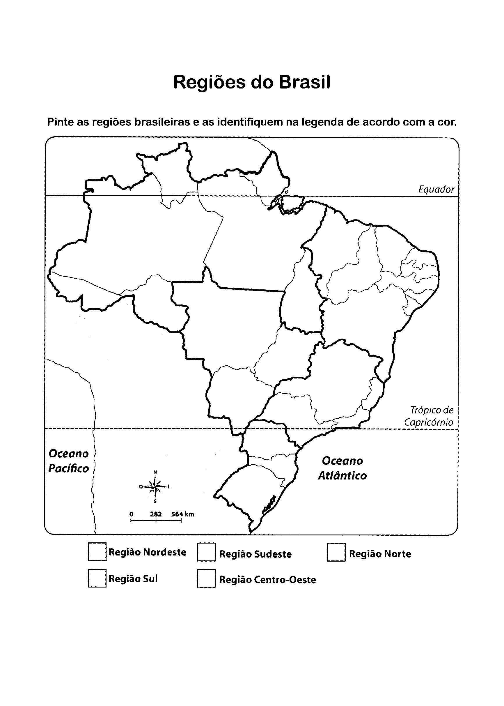 Mapa do Brasil para colorir com legenda das Regiões Brasileiras