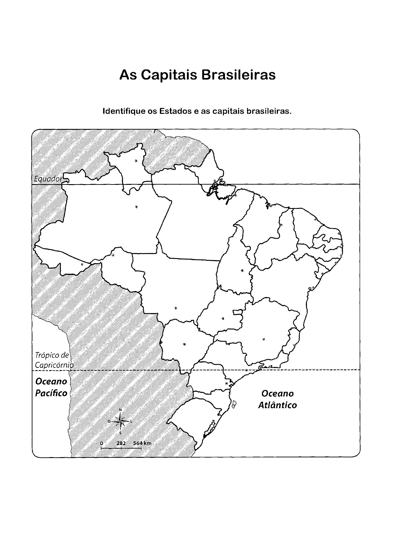 Mapa das capitais brasileiras para colorir