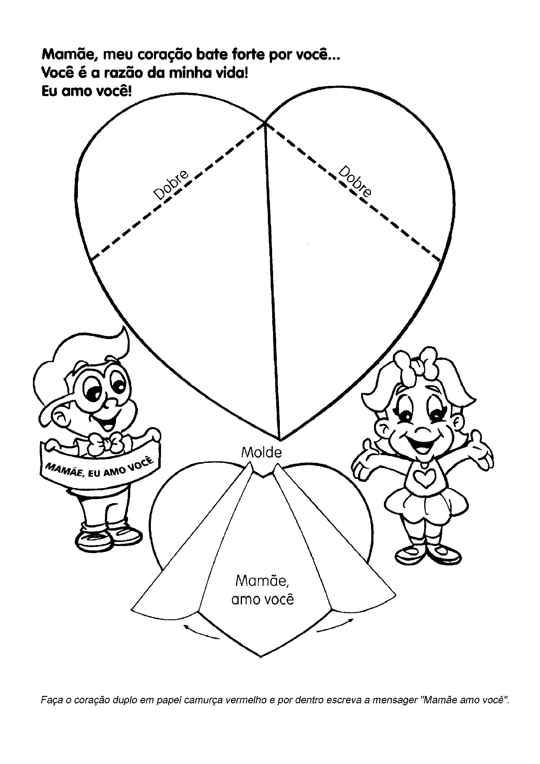 Modelo de cartão em forma de coração