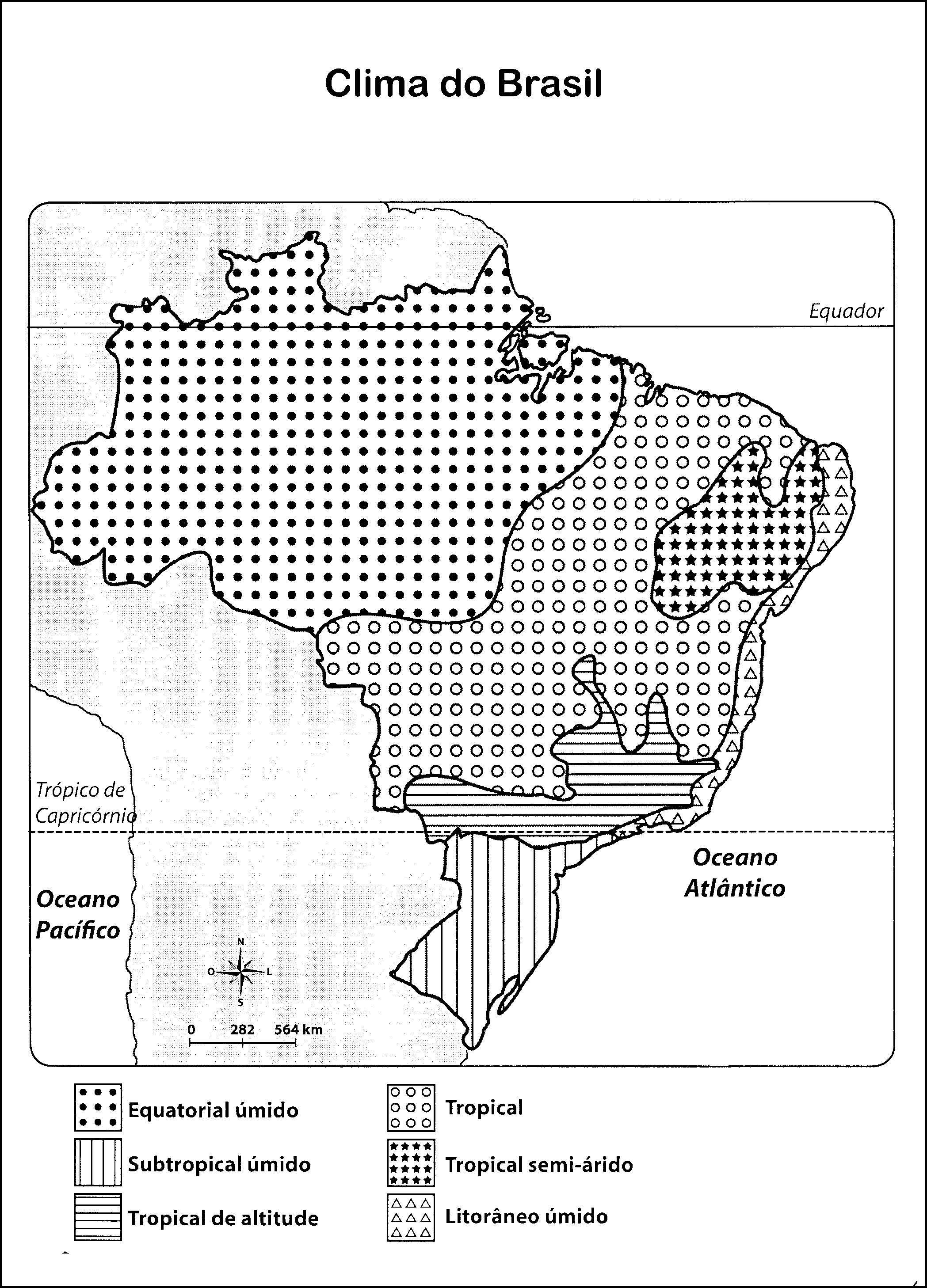 Mapa do clima do Brasil para colorir