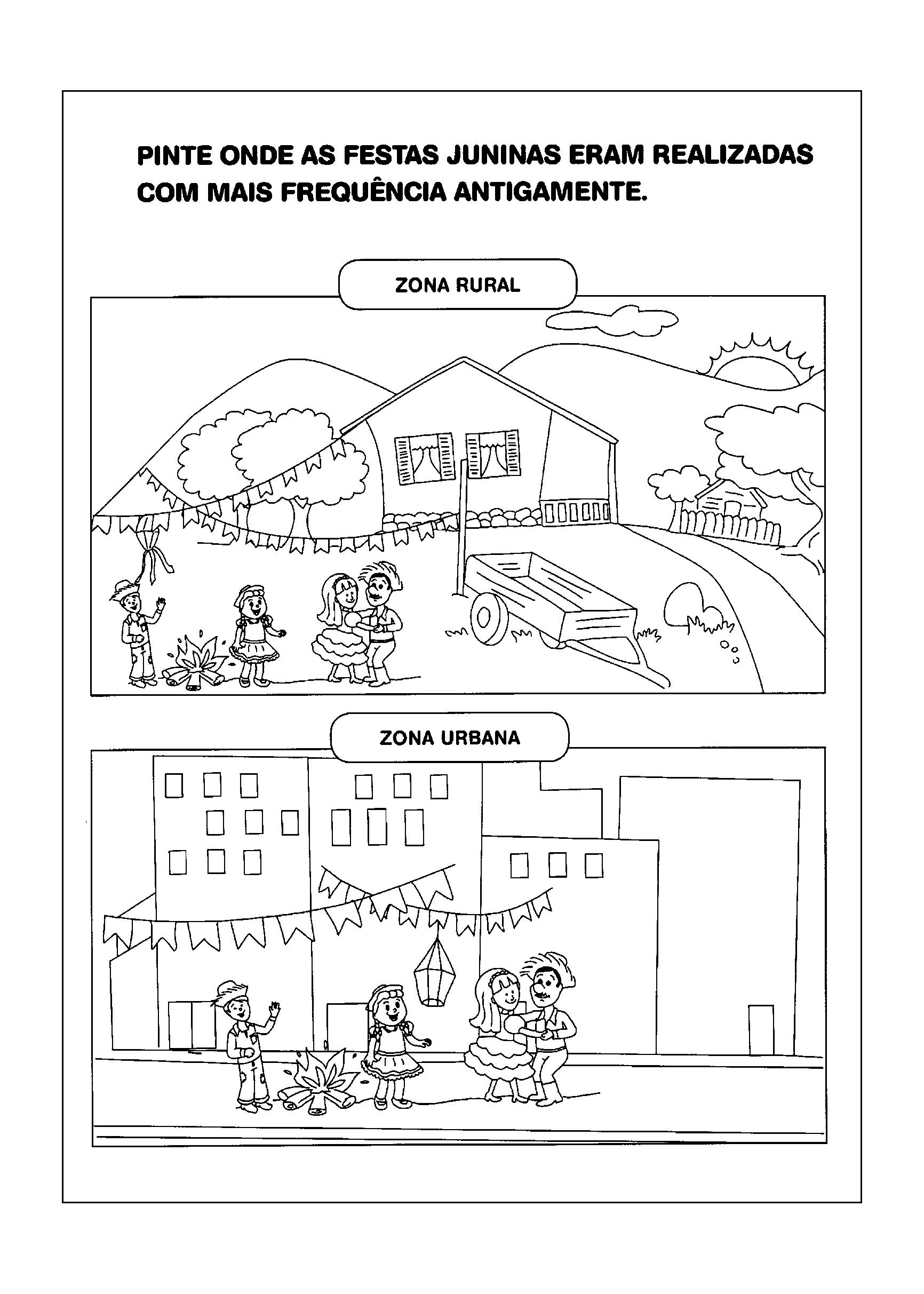 Atividade de Colorir sobre Zona Rural e Zona Urbana