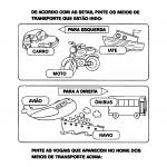 Atividades sobre meios de transporte com desenhos
