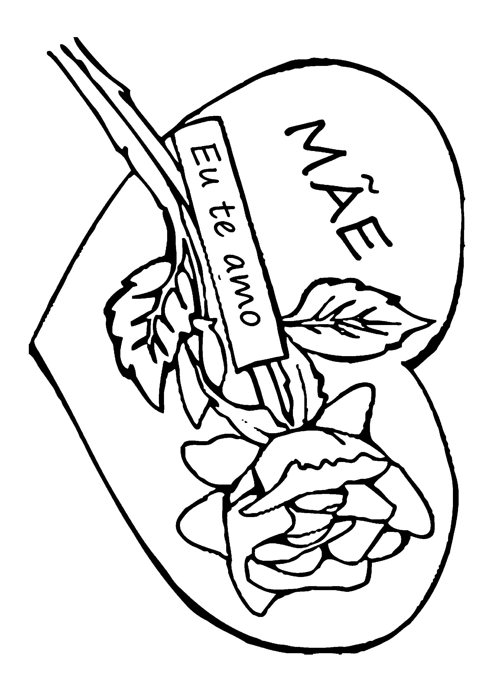 ... para colorir com desenho de rosa e coração para o Dia das Mães