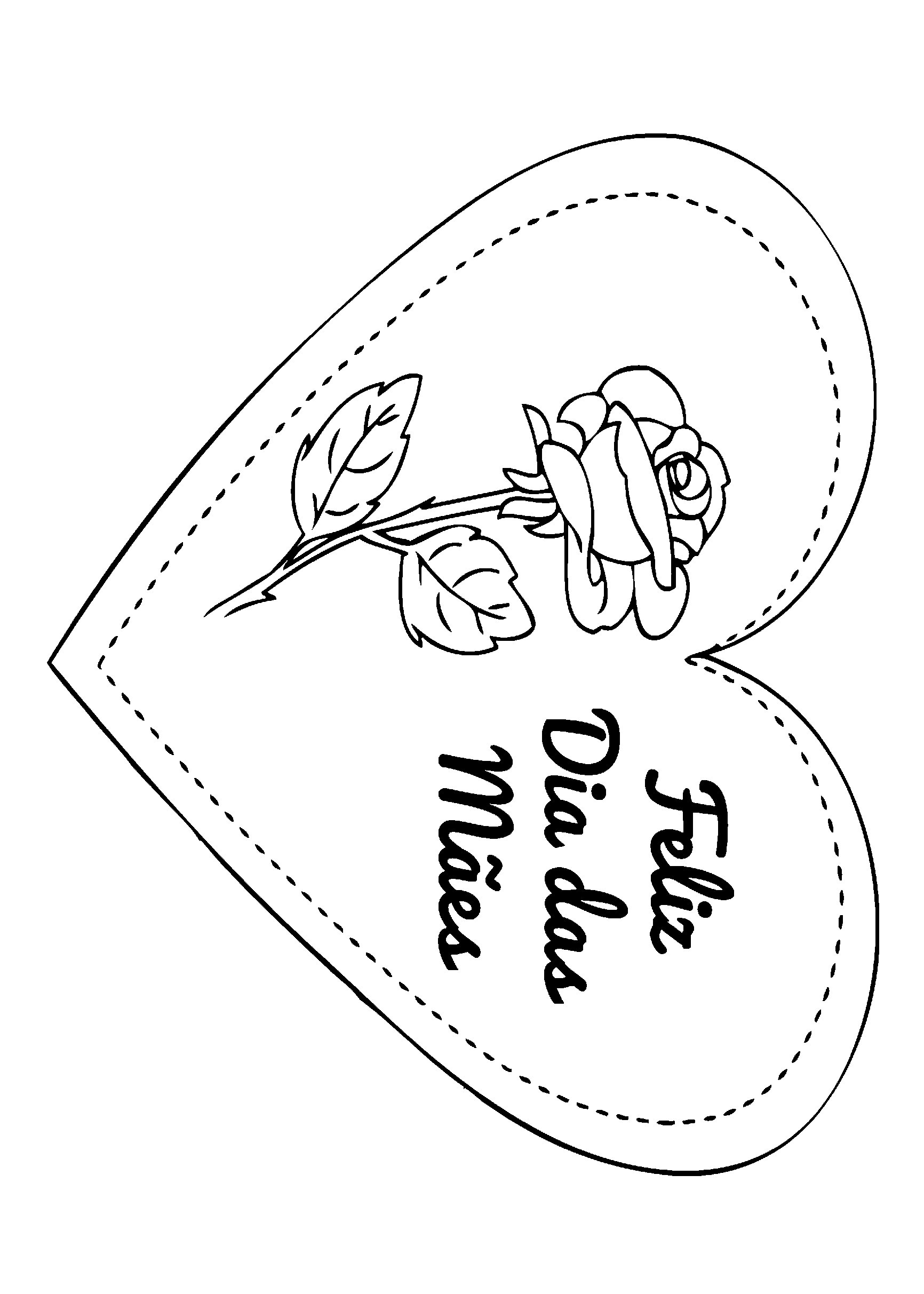 Cartão simples com rosa e coração