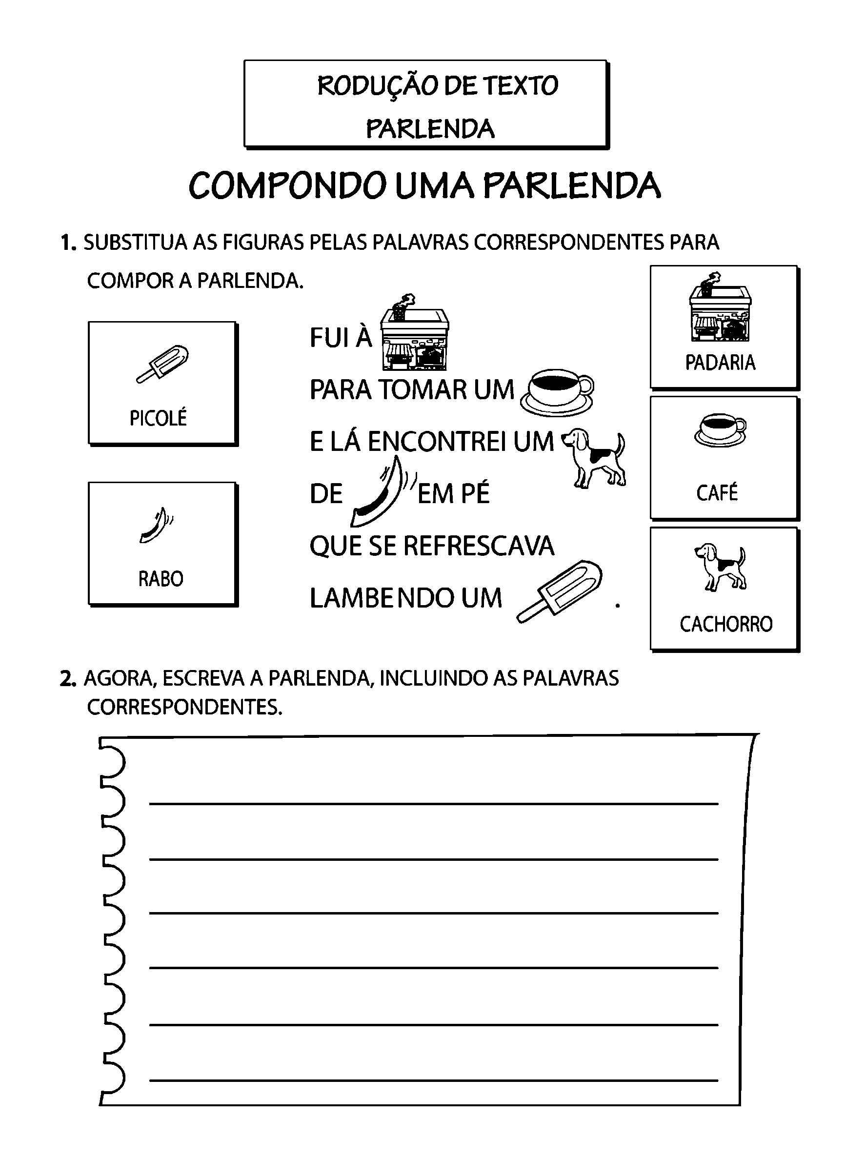 Well-known Produção de Texto com Parlenda - Só Atividades NI74