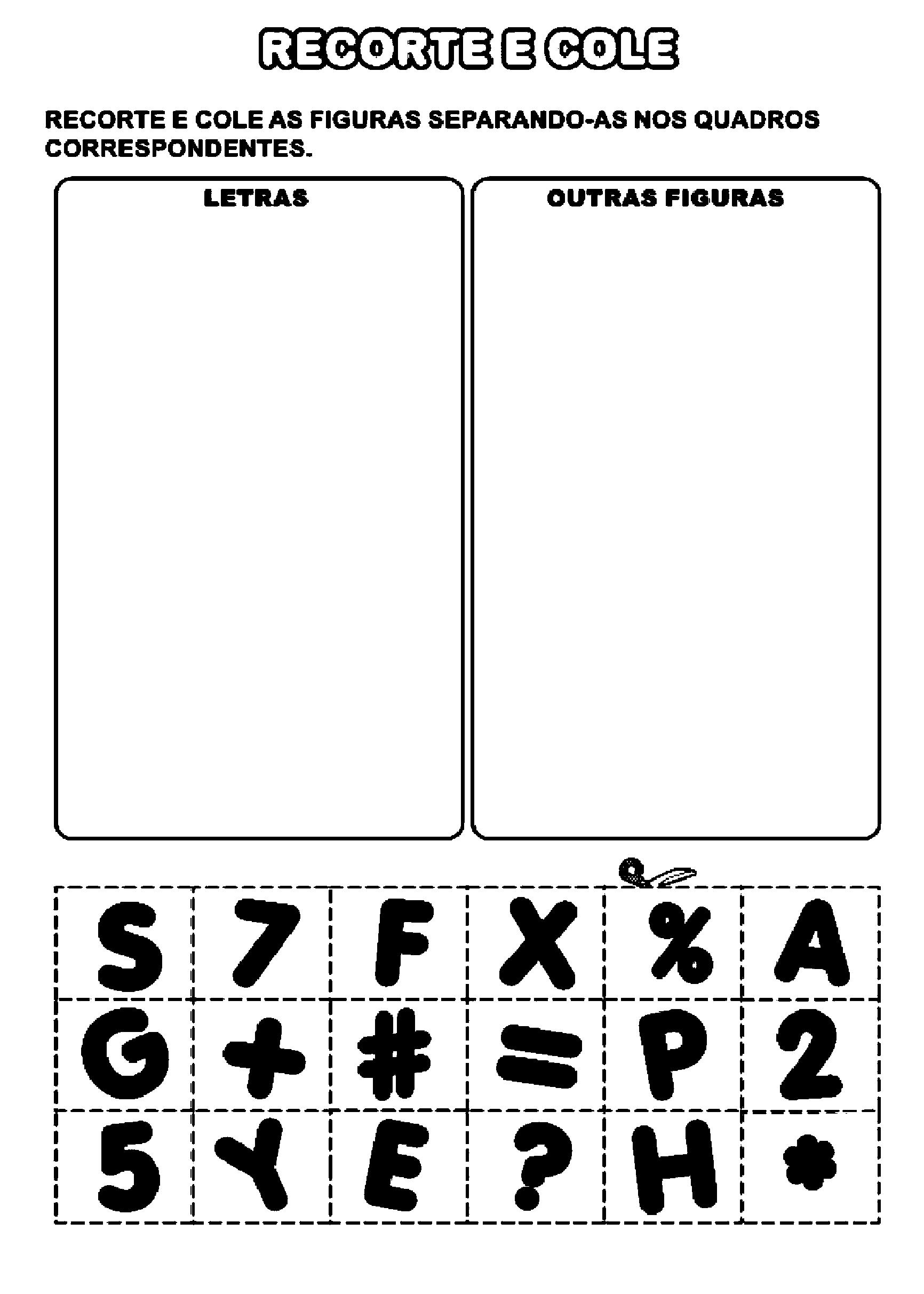 Atividade de diferenciar letras de demais figuras