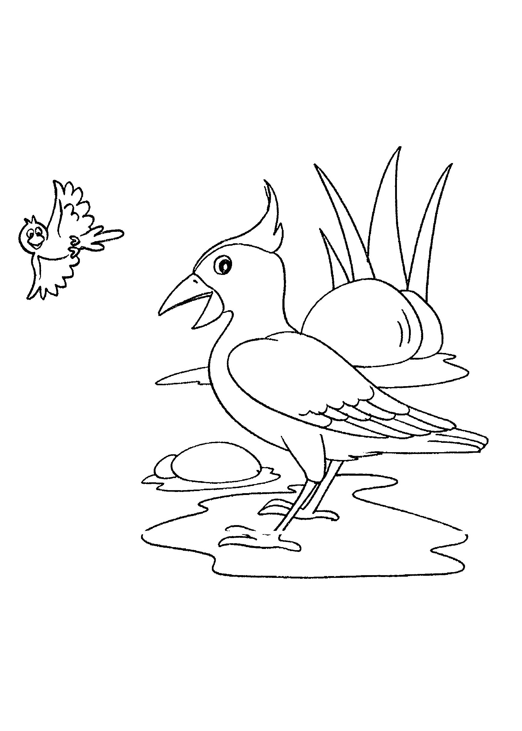 Desenho de pássaro na água