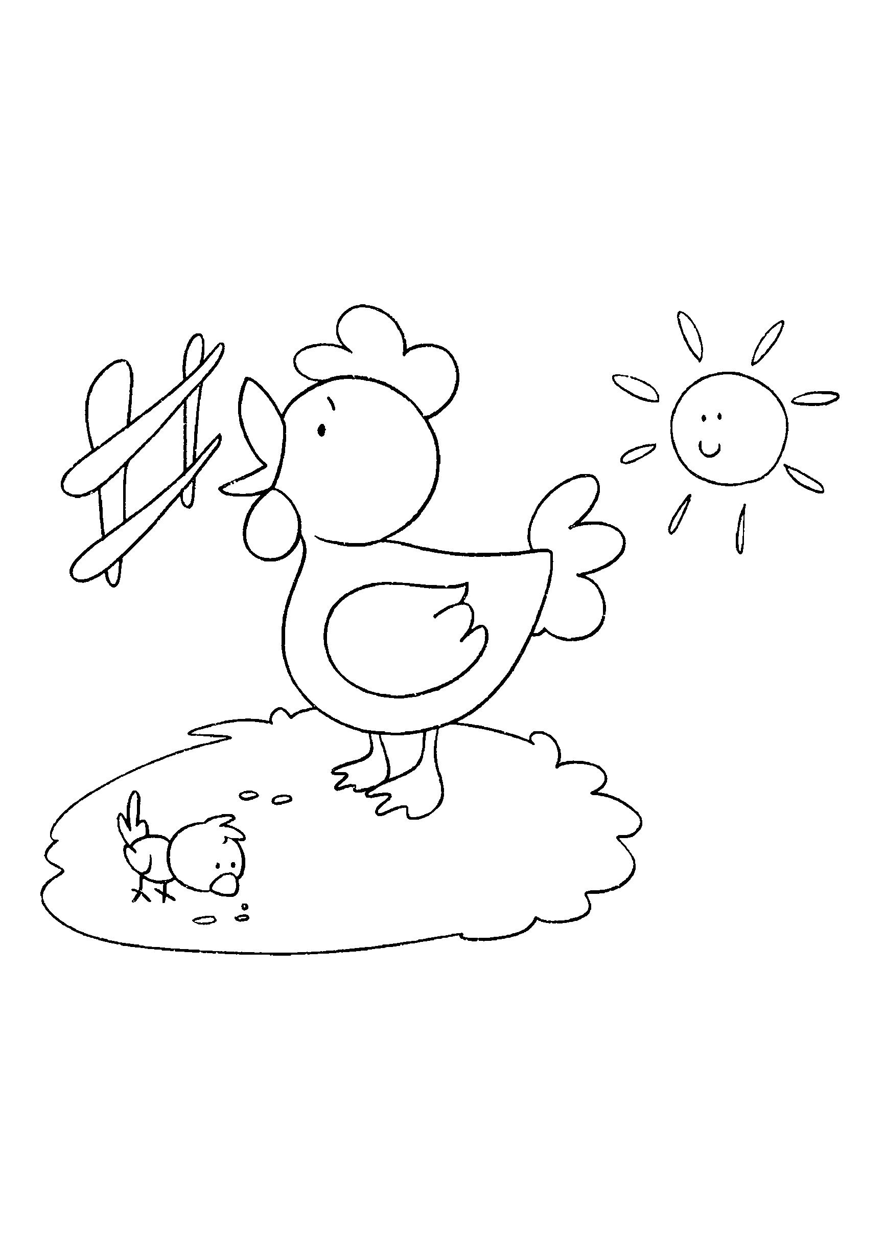 Desenho de galinha cantando