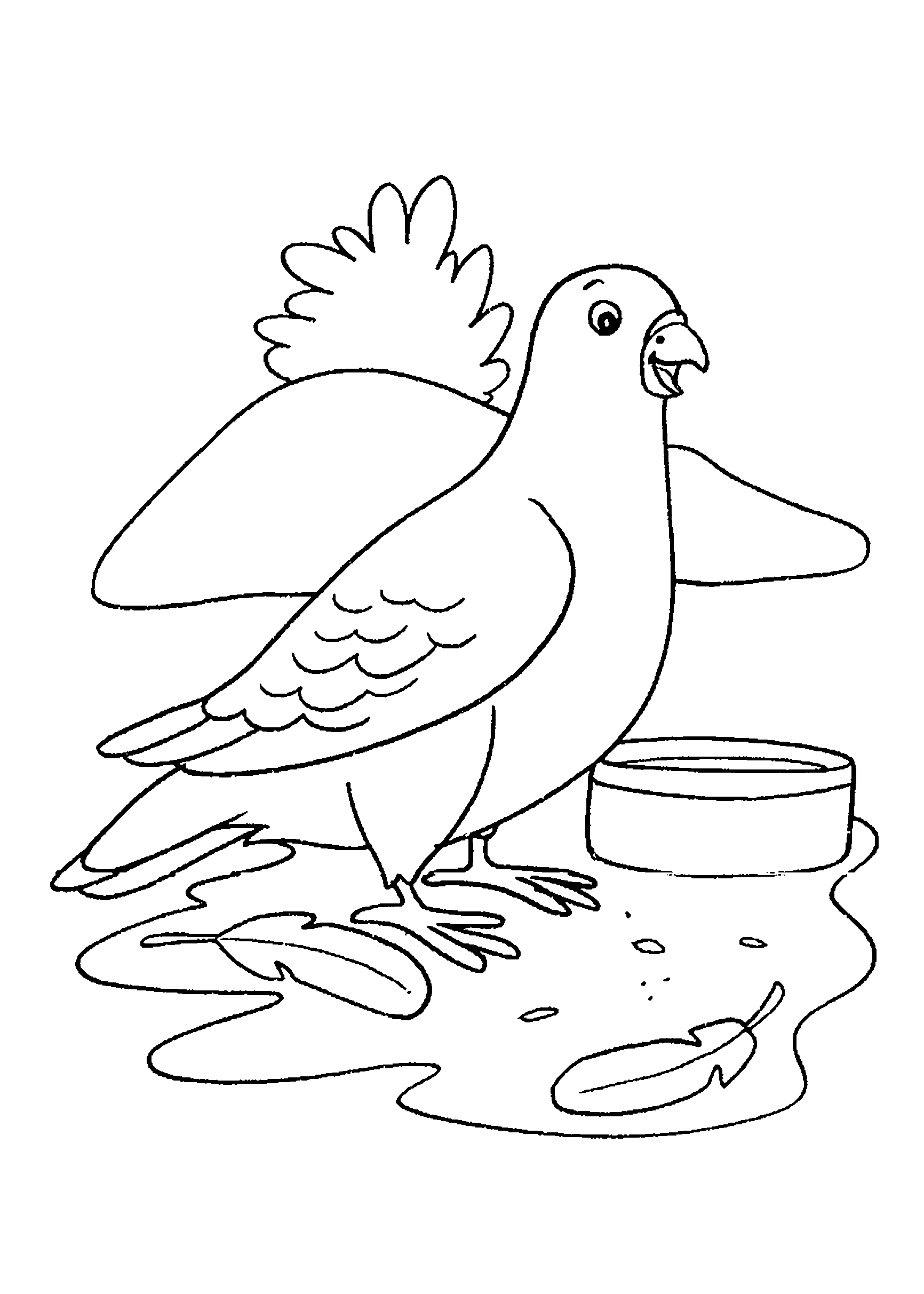 Desenho de pombo comendo