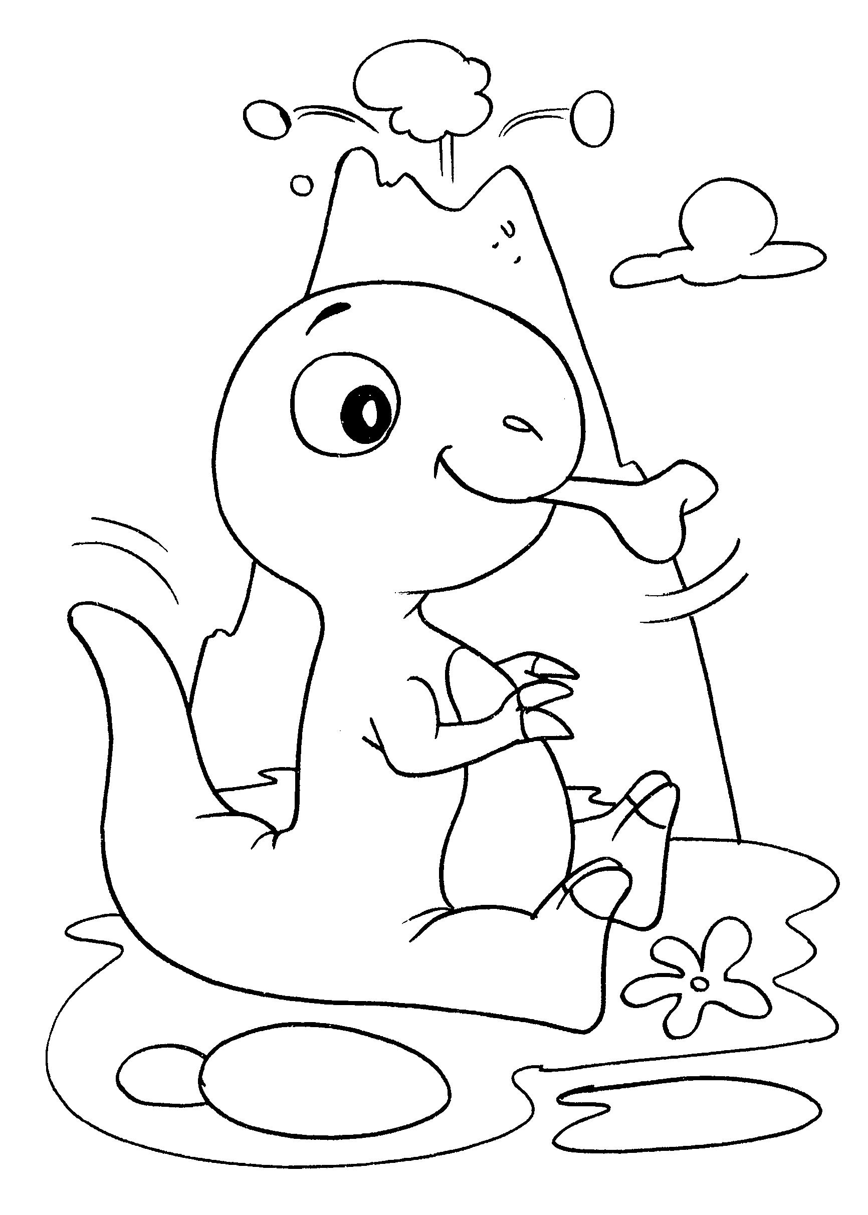 Desenho de Dinossauro bebê comendo