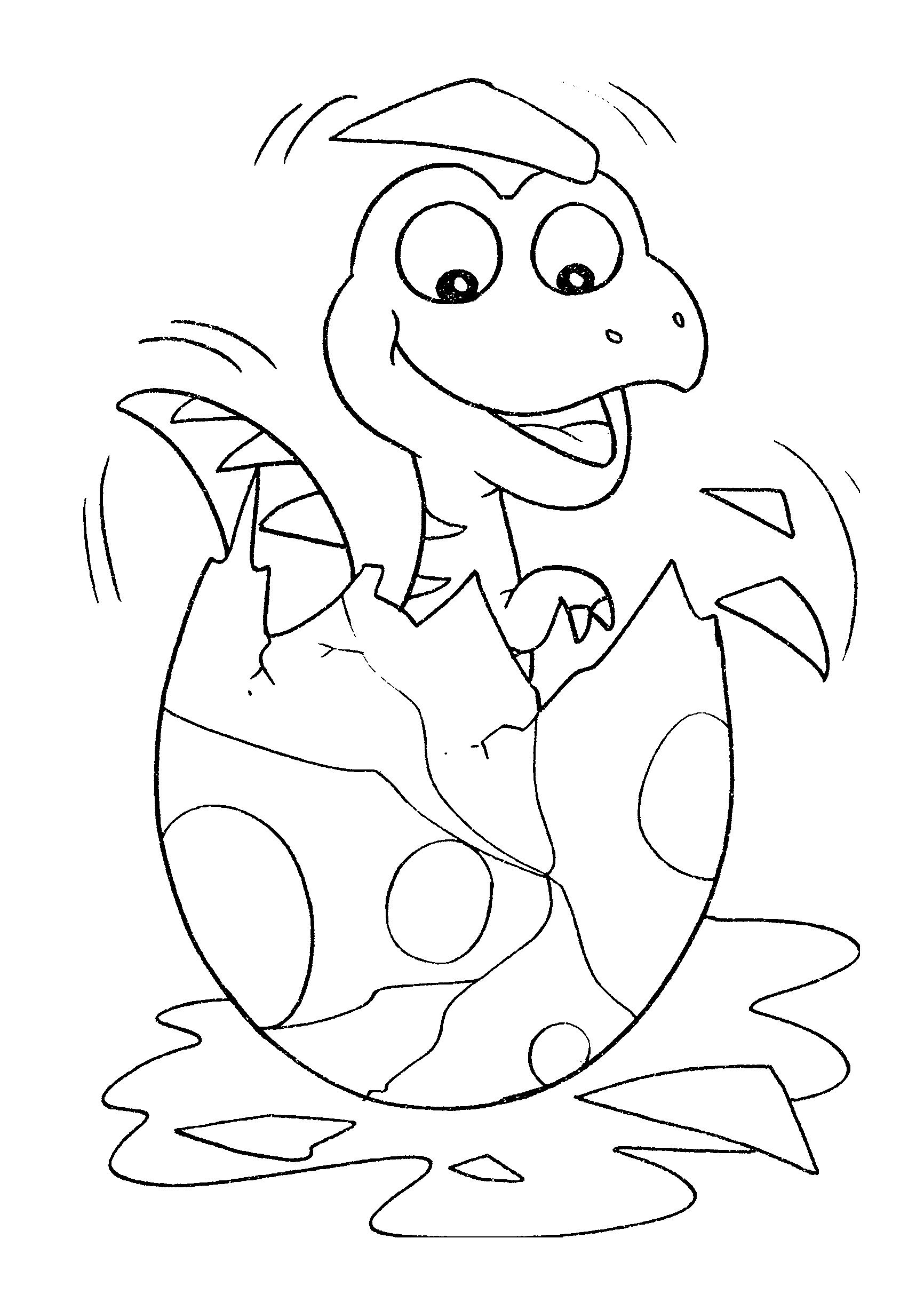 Desenho de Dinossauro: saindo do ovo