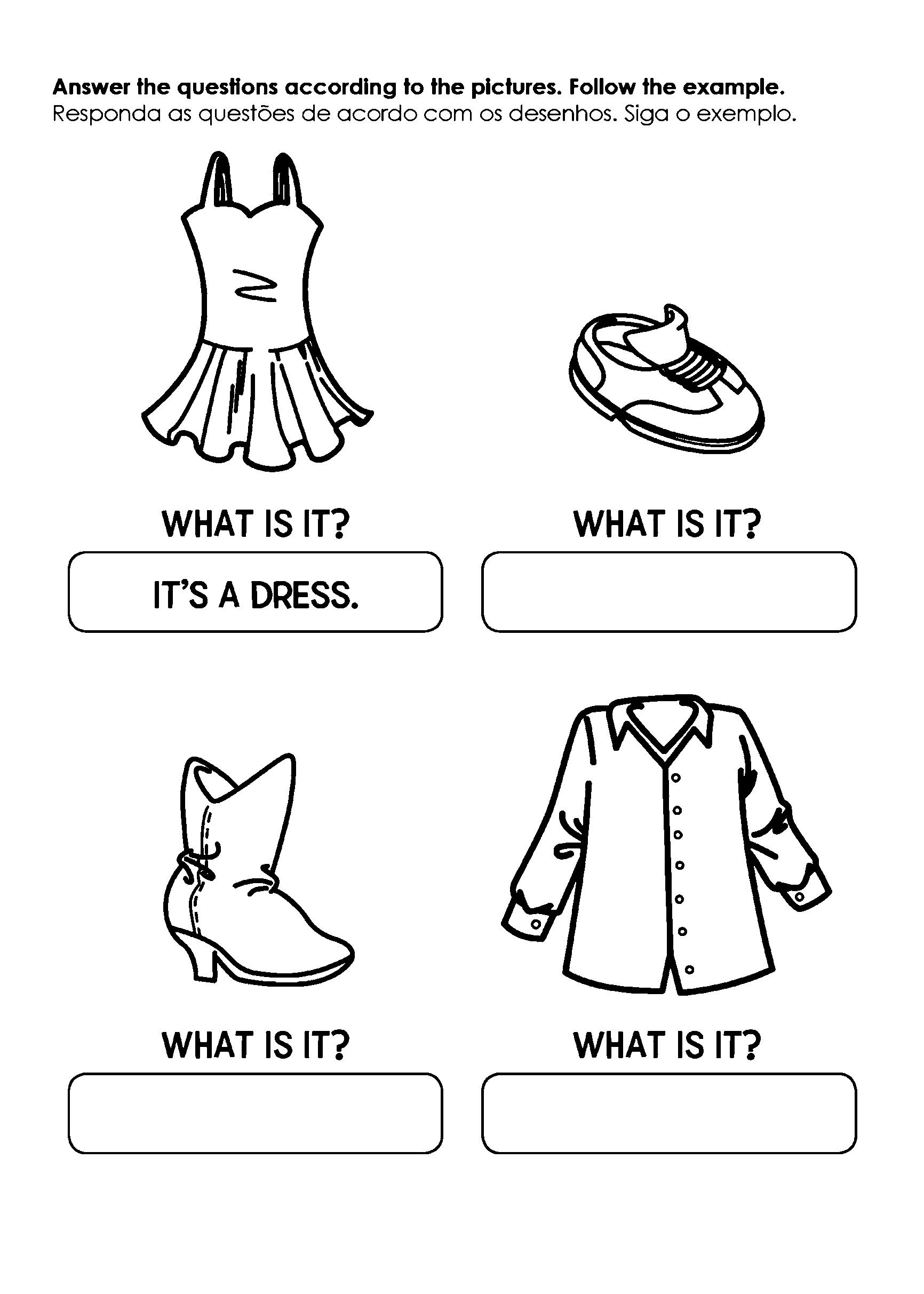 Atividade de perguntas das roupas em inglês