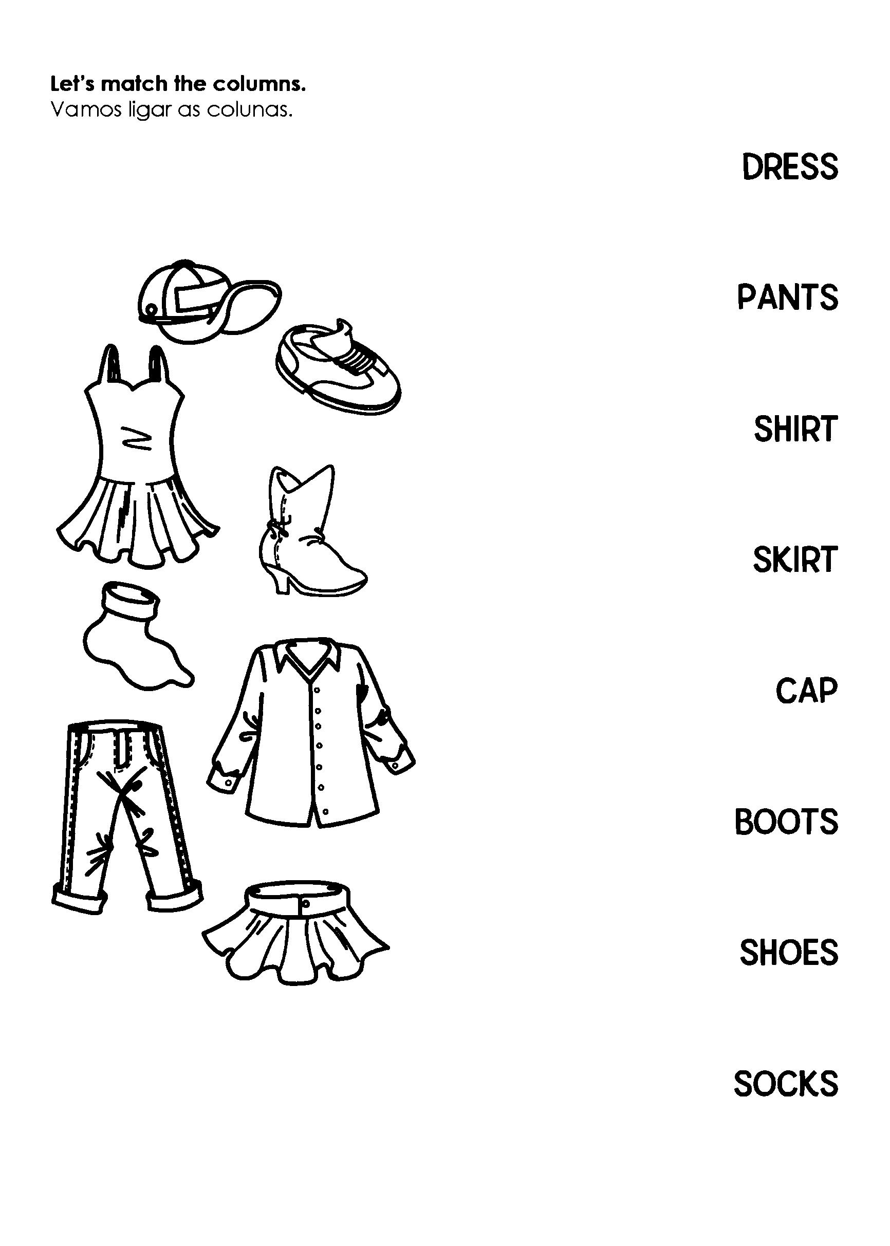 LIgas as colunas das roupas em inglês