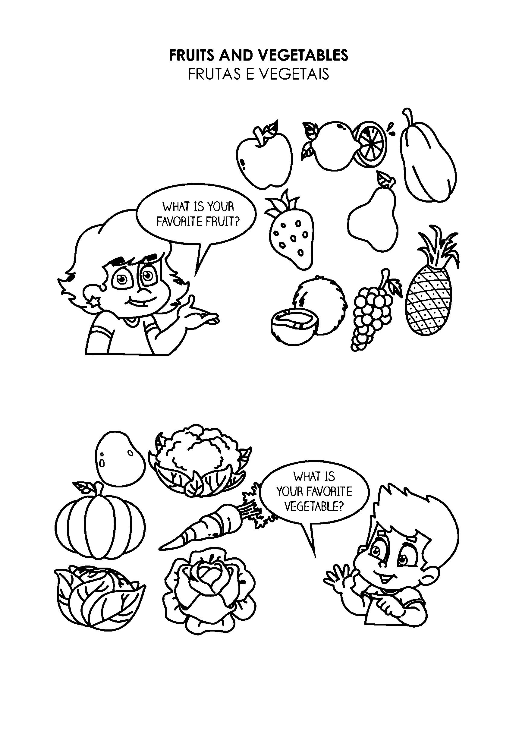 Atividade com frutas e vegetais em inglês