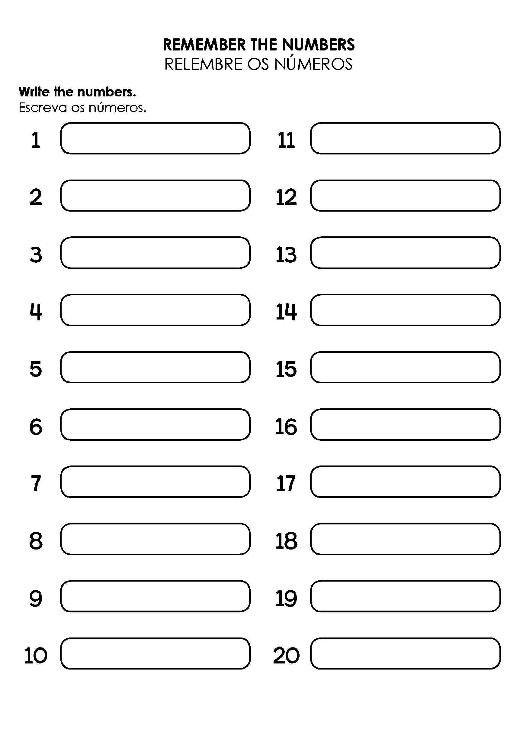 Atividade de escrever números por extenso em inglês