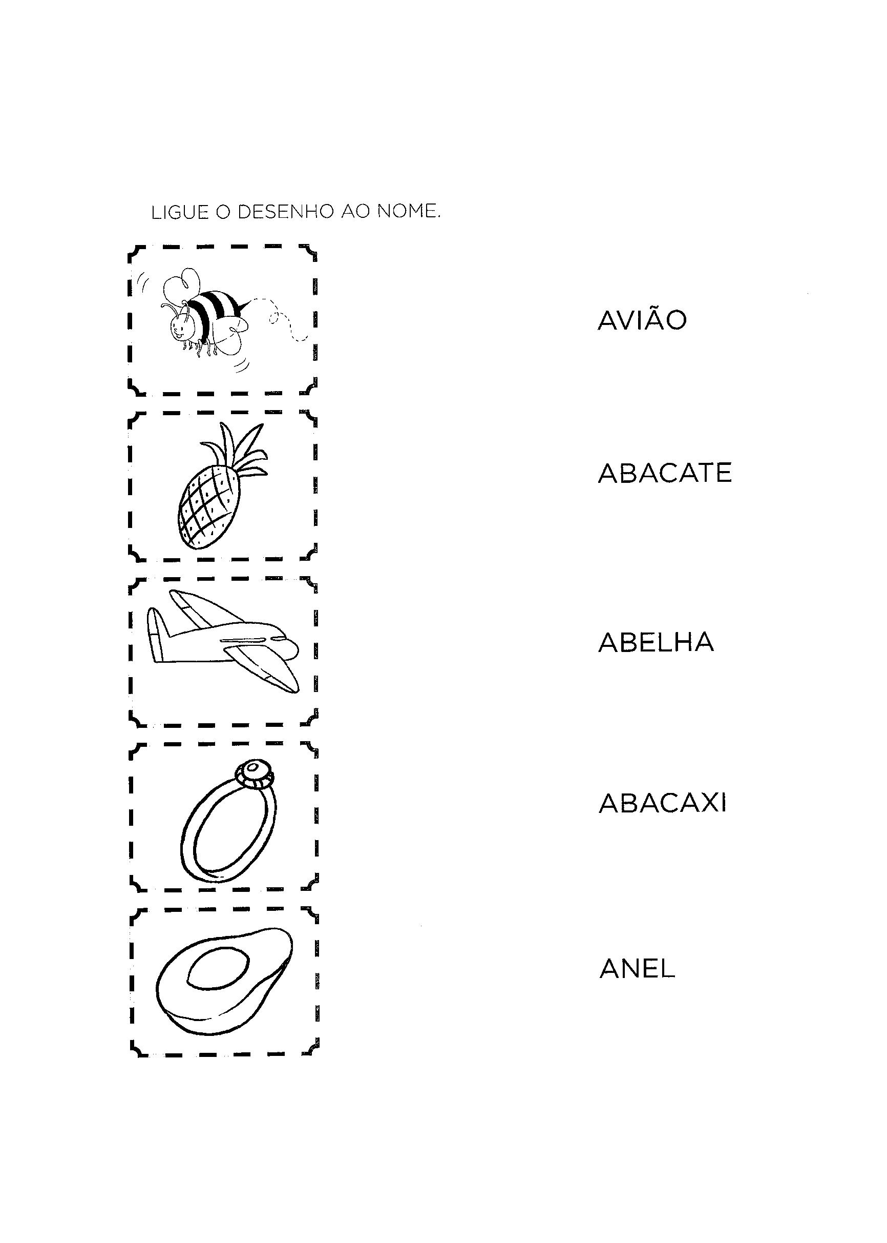 alfabetização ligar desenho ao nome letra a
