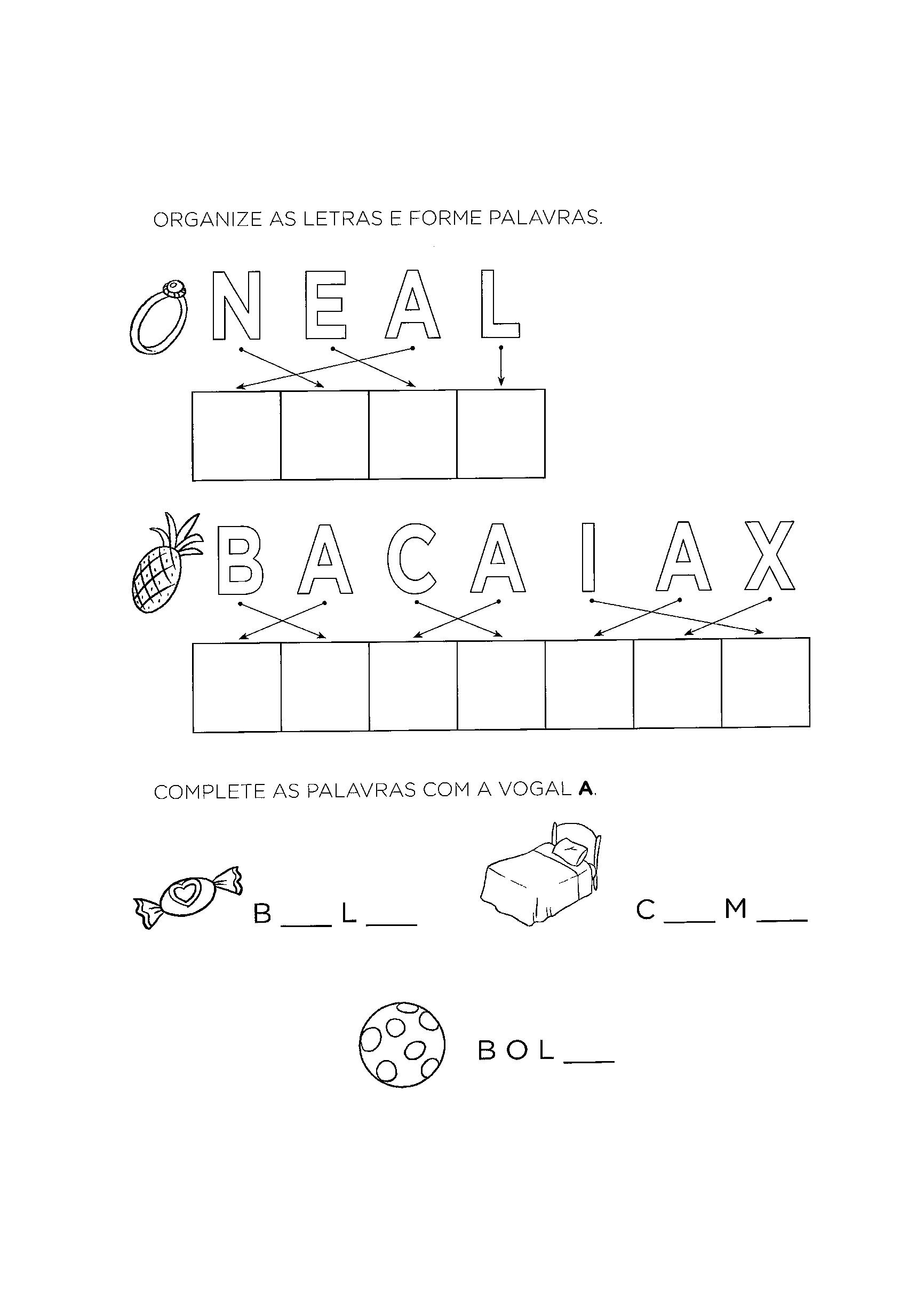 alfabetização organizar letra a