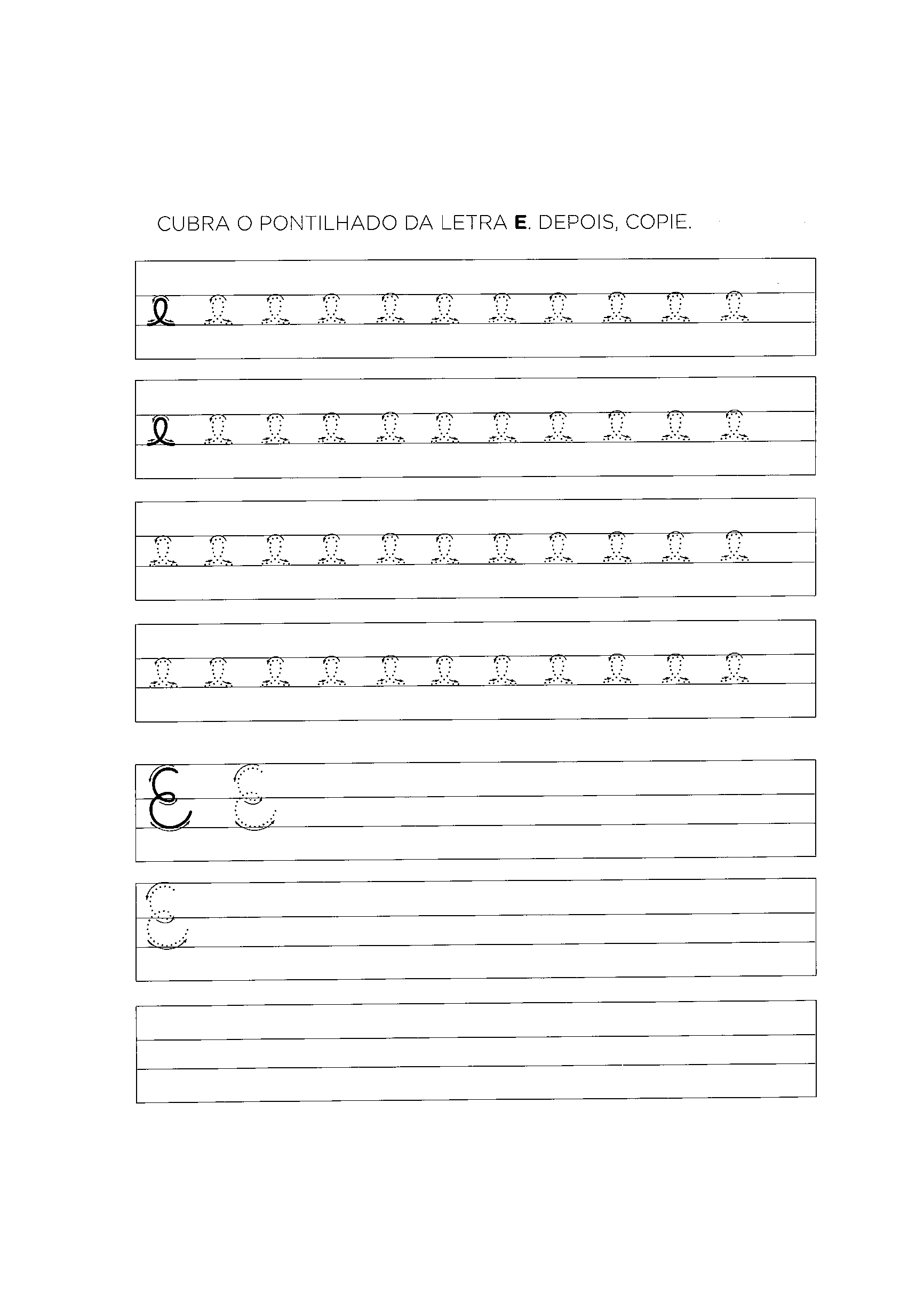 atividade de alfabetização com a letra e cobrir cursiva