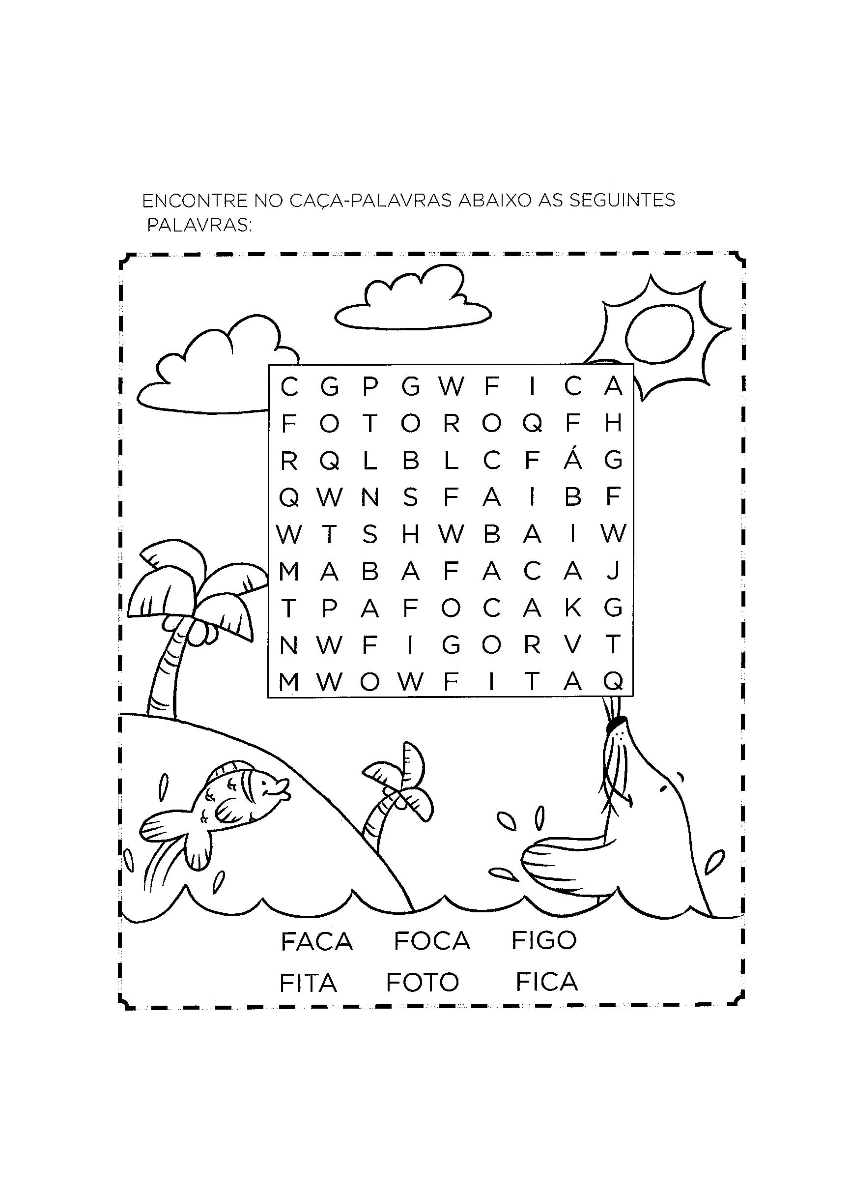 Caça-palavras das palavras com F