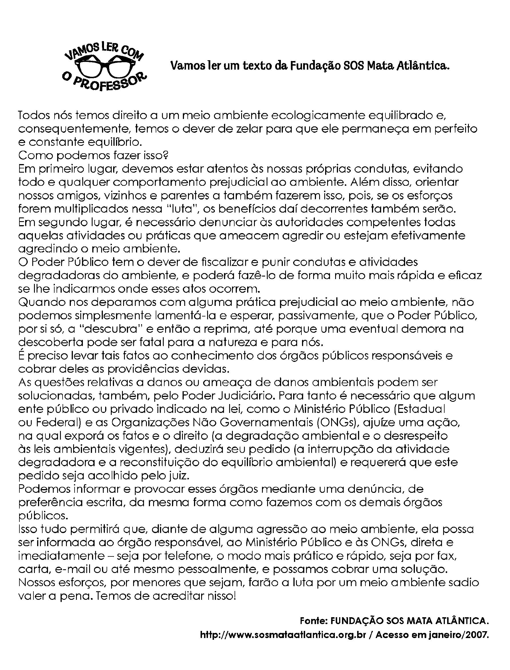 Texto Fundação SOS Mata Atlântica