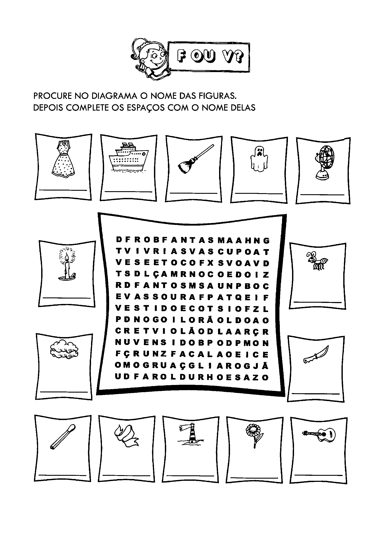 Caça-palavras com F ou V