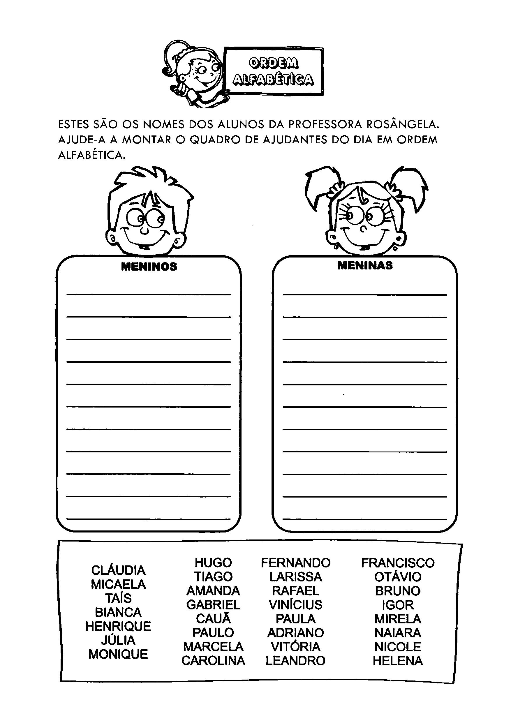 Colocar nomes em ordem alfabética