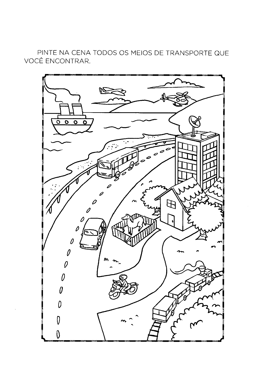 Pinte os meios de transporte