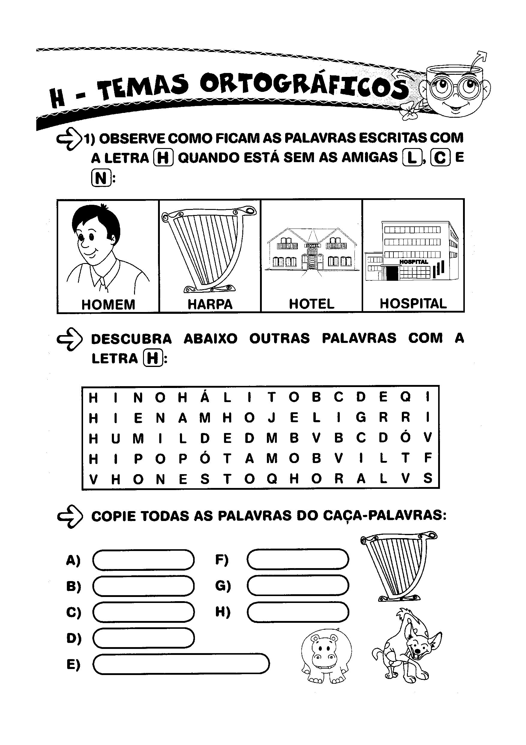 Ortografia - Letra H junto com outras letras