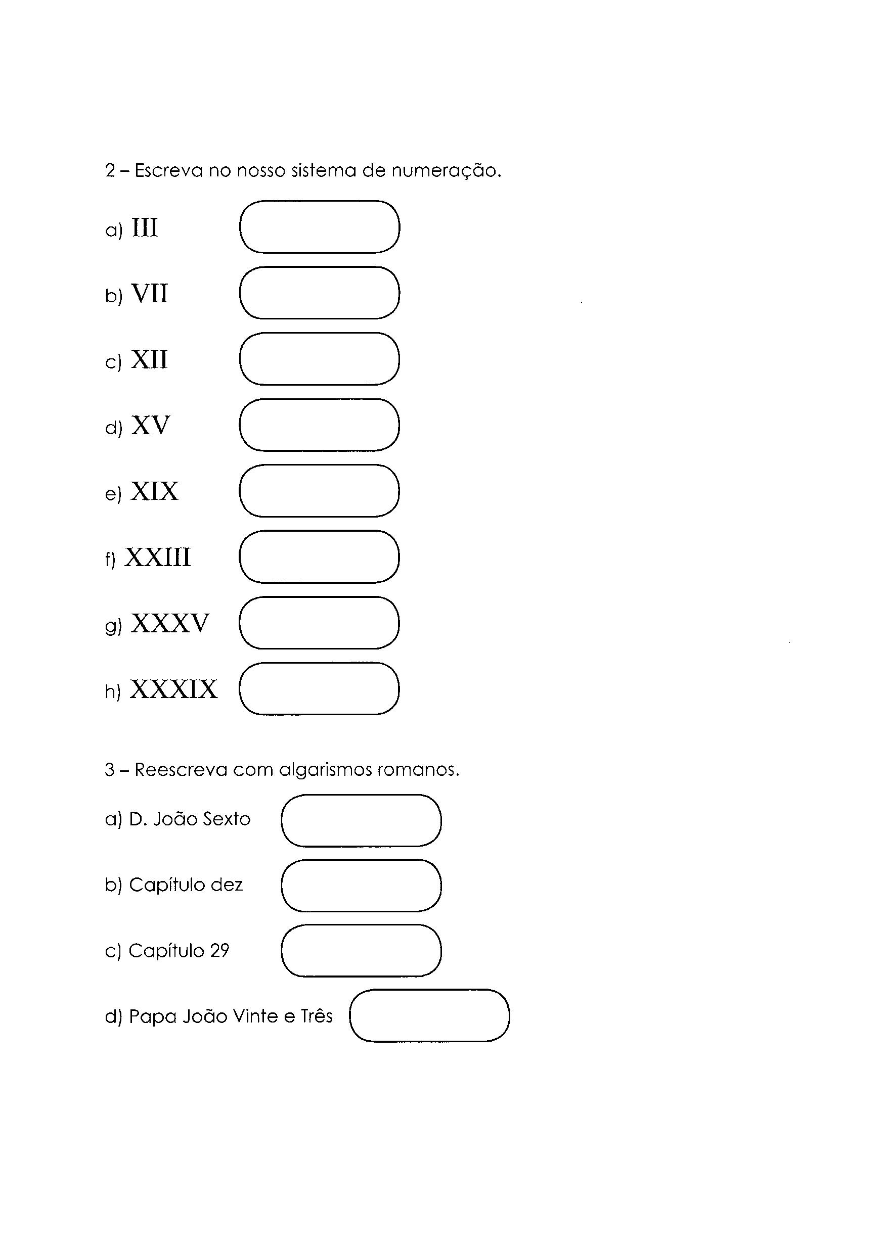 Sistema de Numeração - Romano: Atividades 2