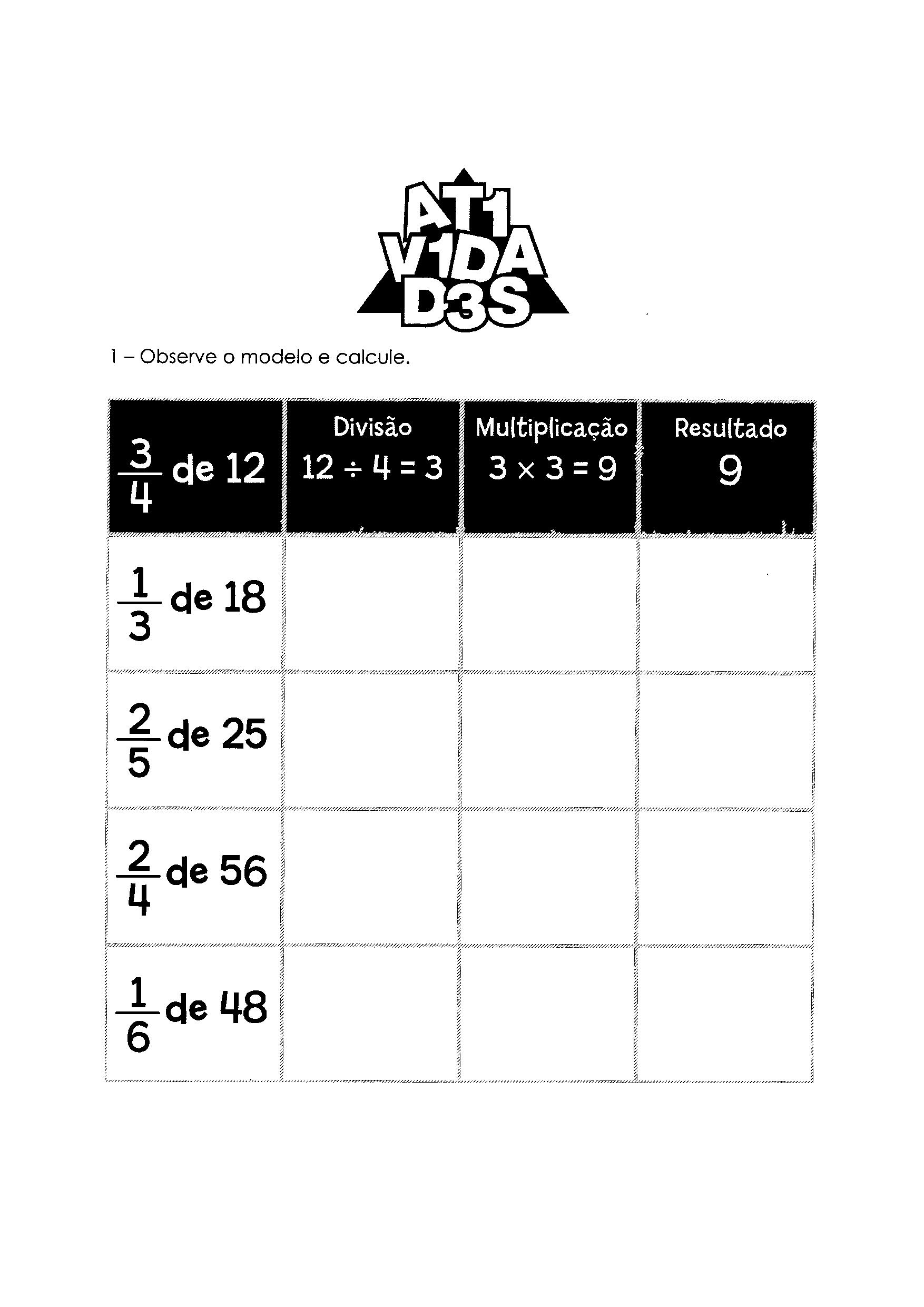 Atividades com Frações de um número