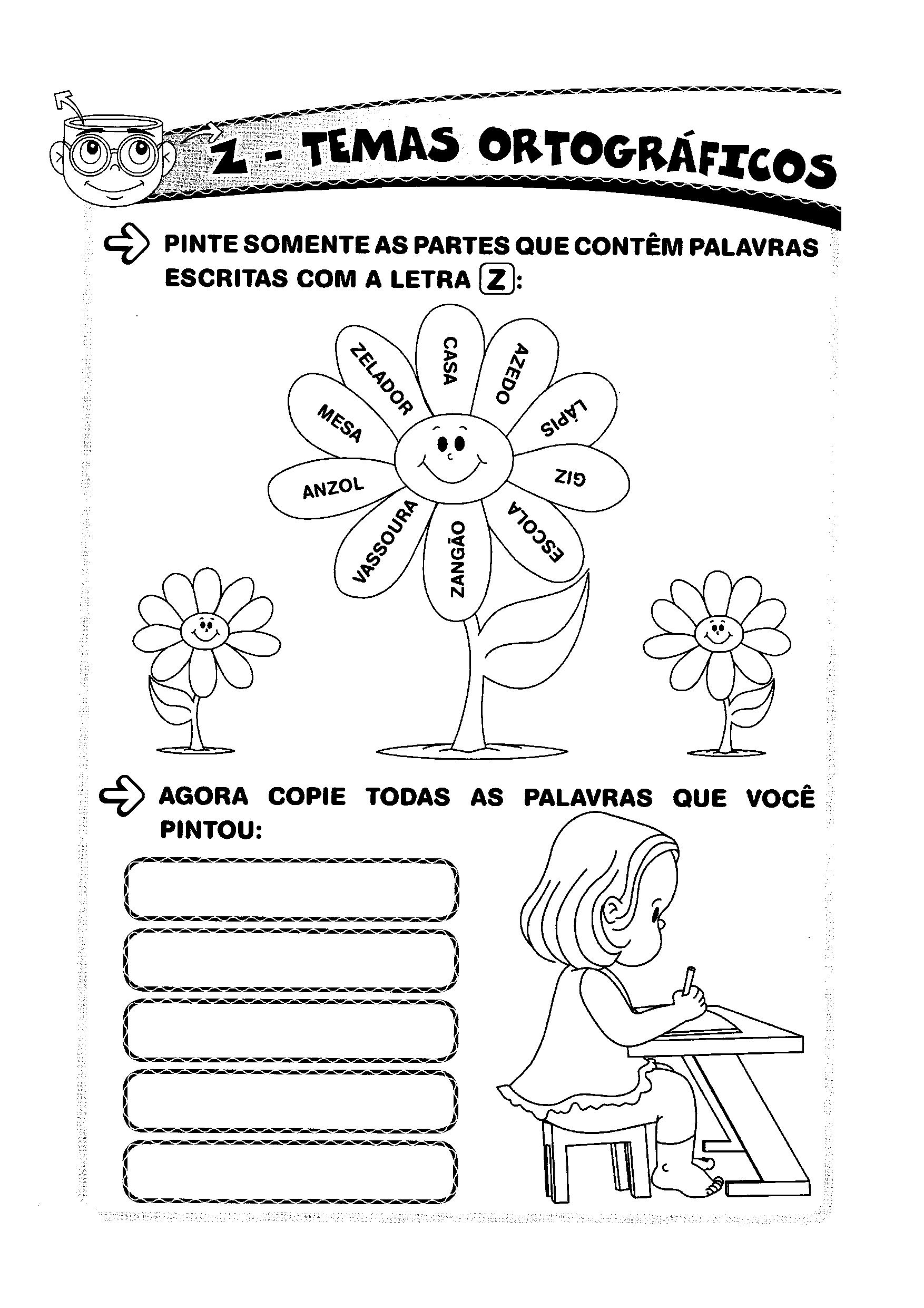 Atividade de colorir e copiar