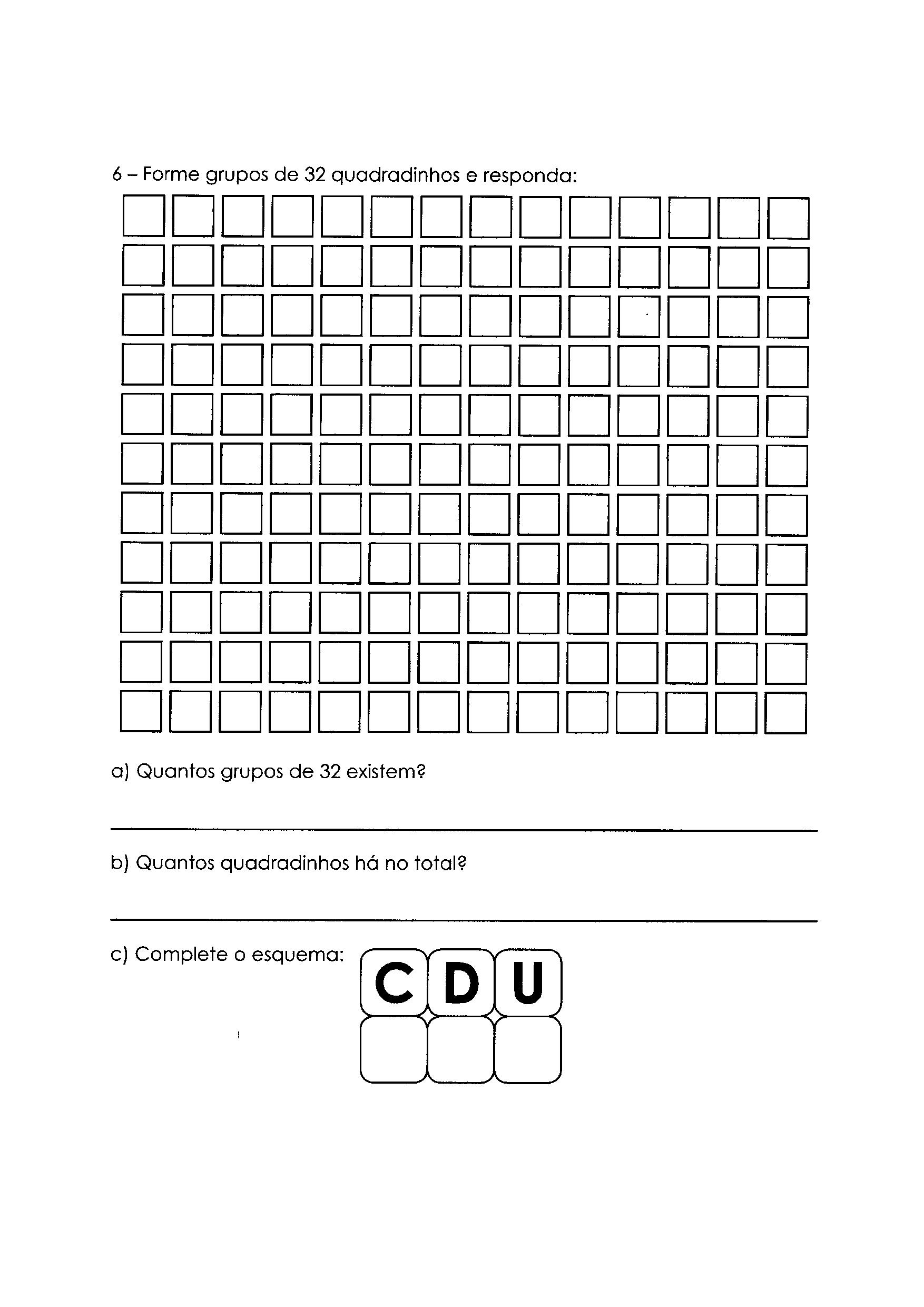 Atividade de agrupar de 32 em 32