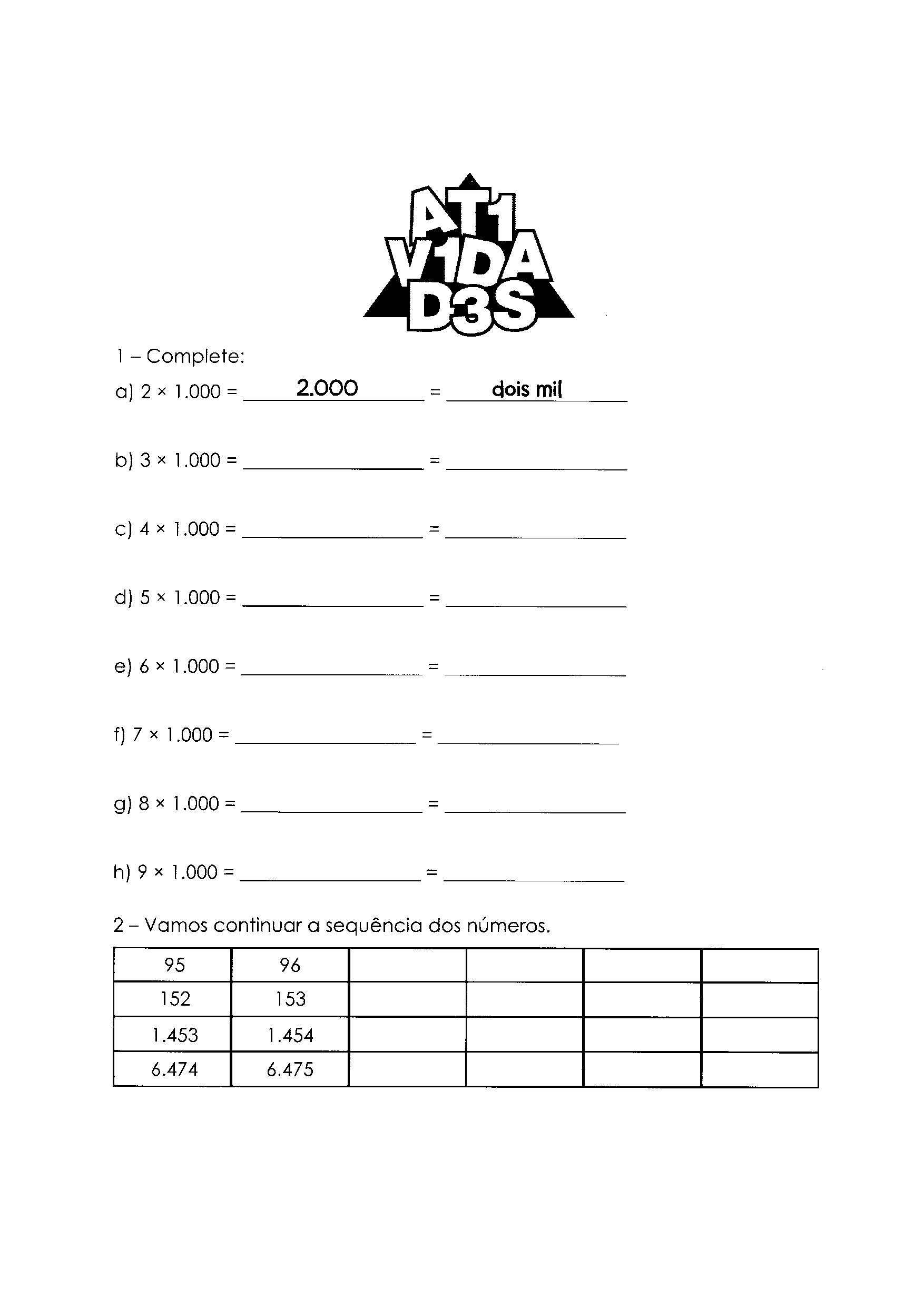 Multiplicação e sequência