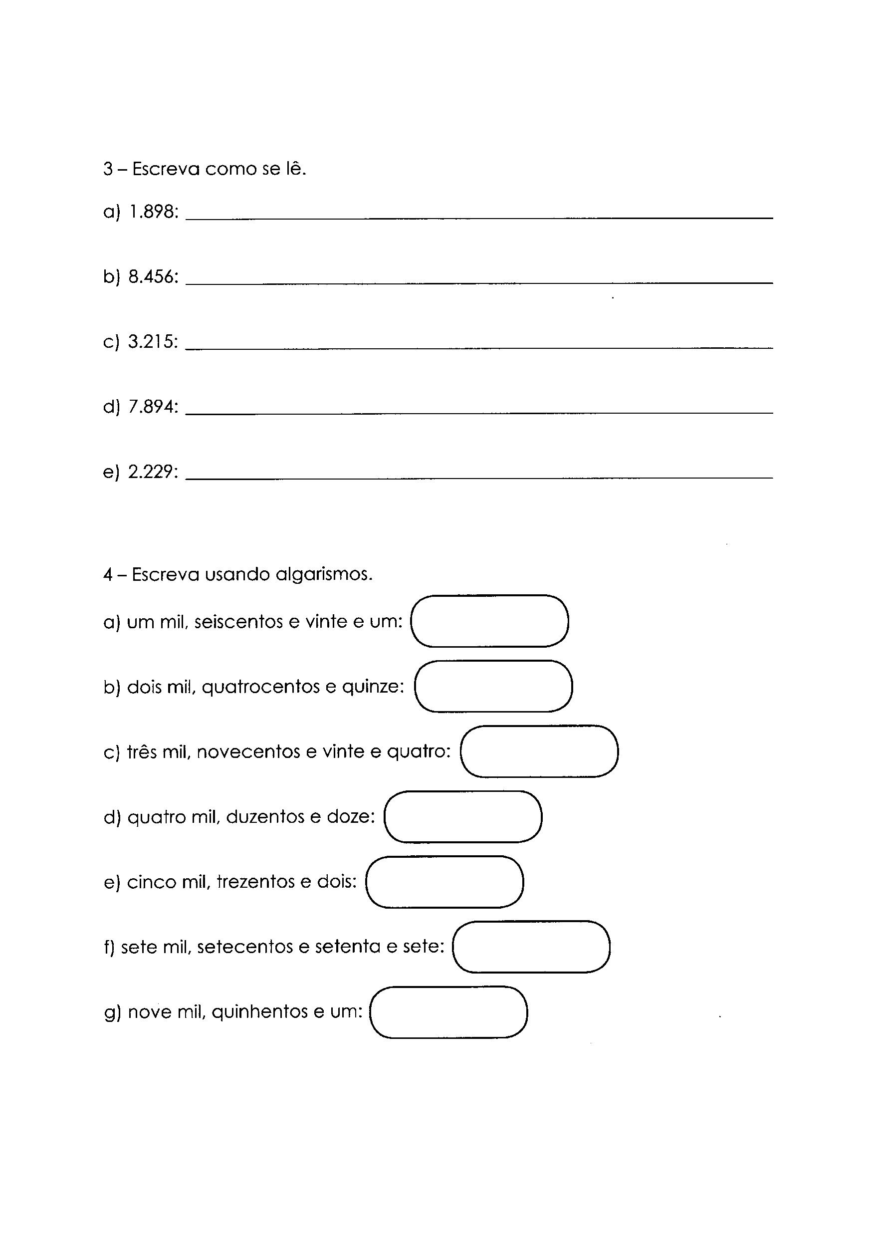 Escrita e algarismos