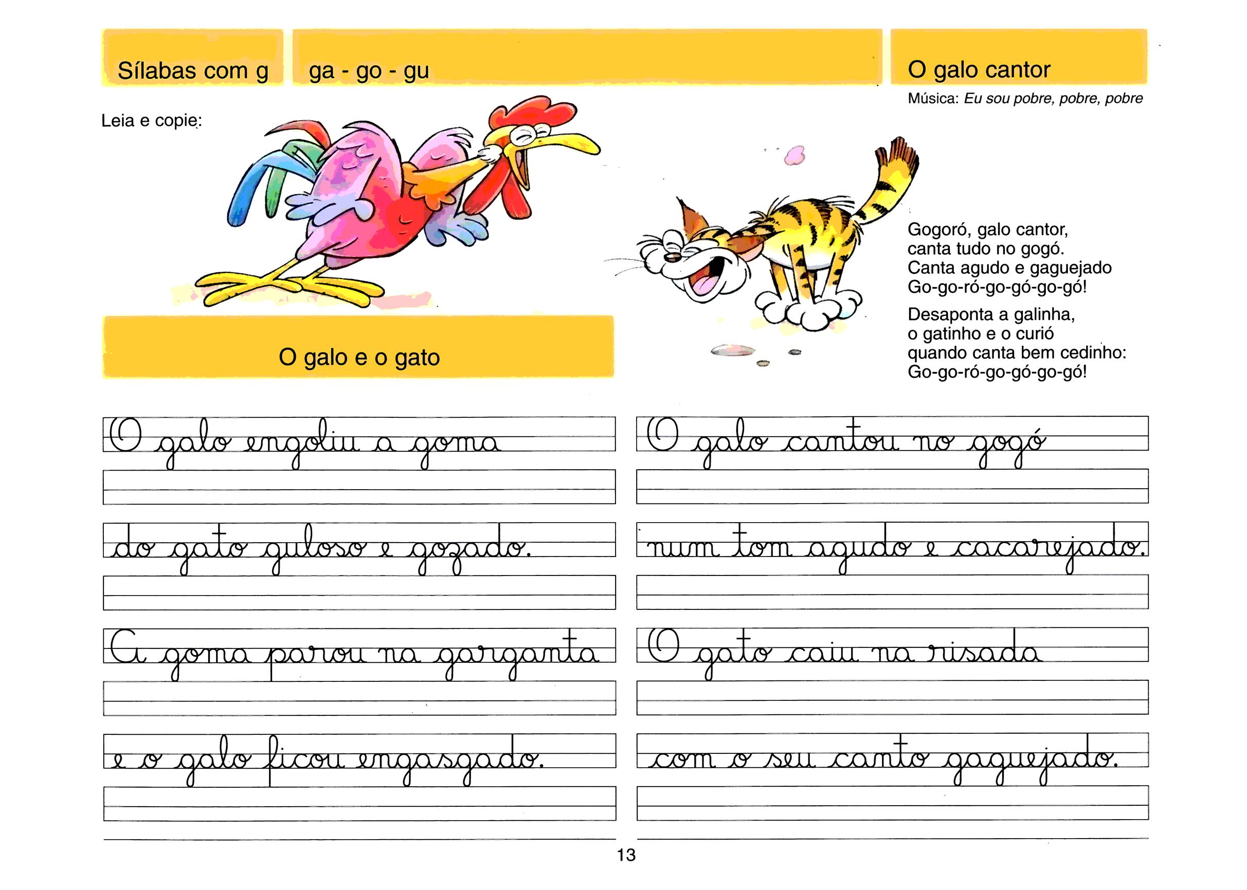 Caligrafia - sílabas com G