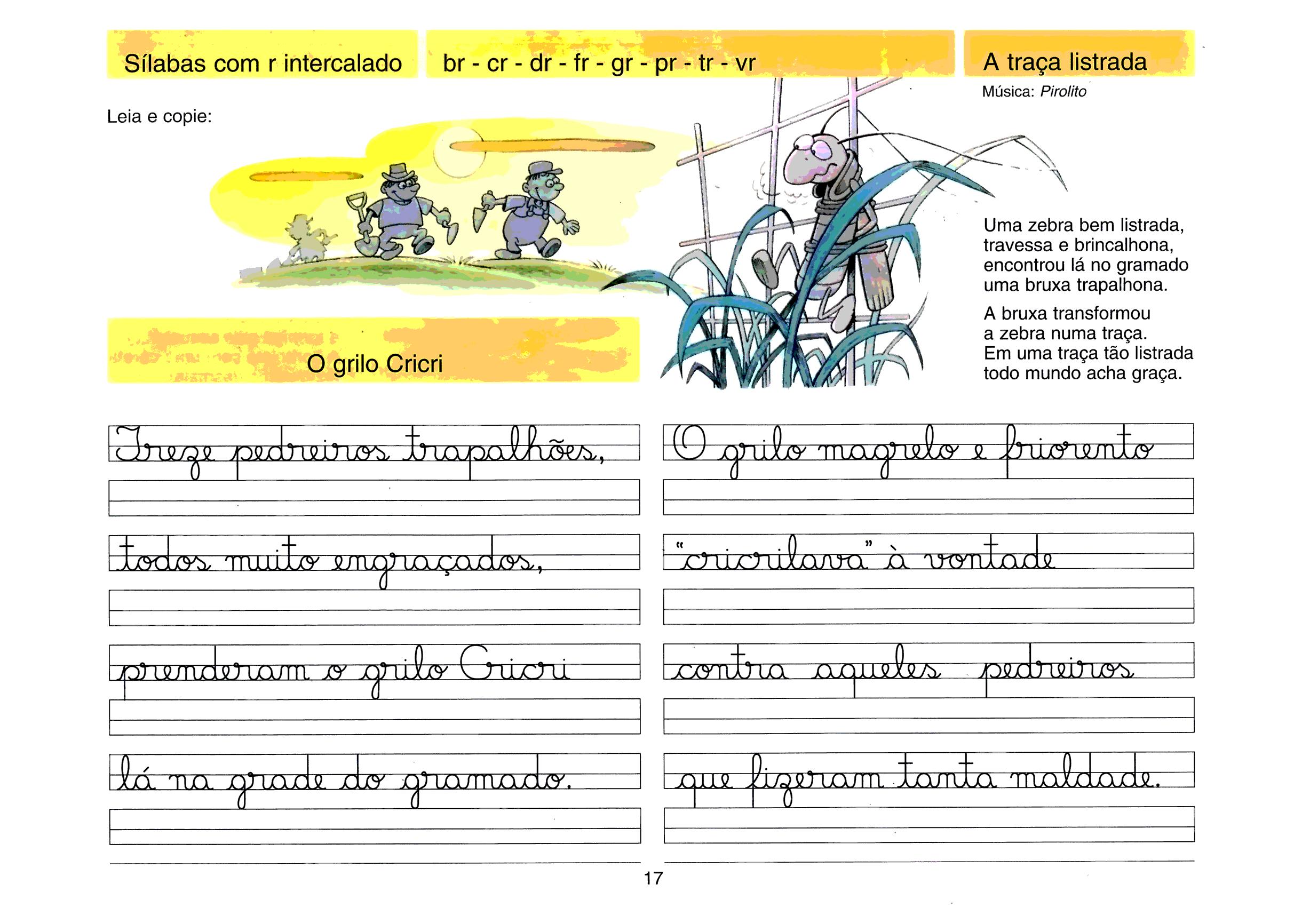Caligrafia - sílabas com R intercalado