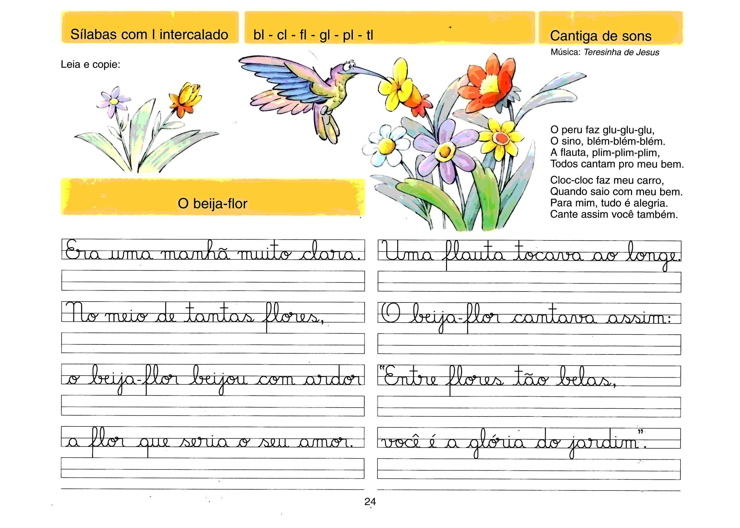 Caligrafia - sílabas com L(intercalado)