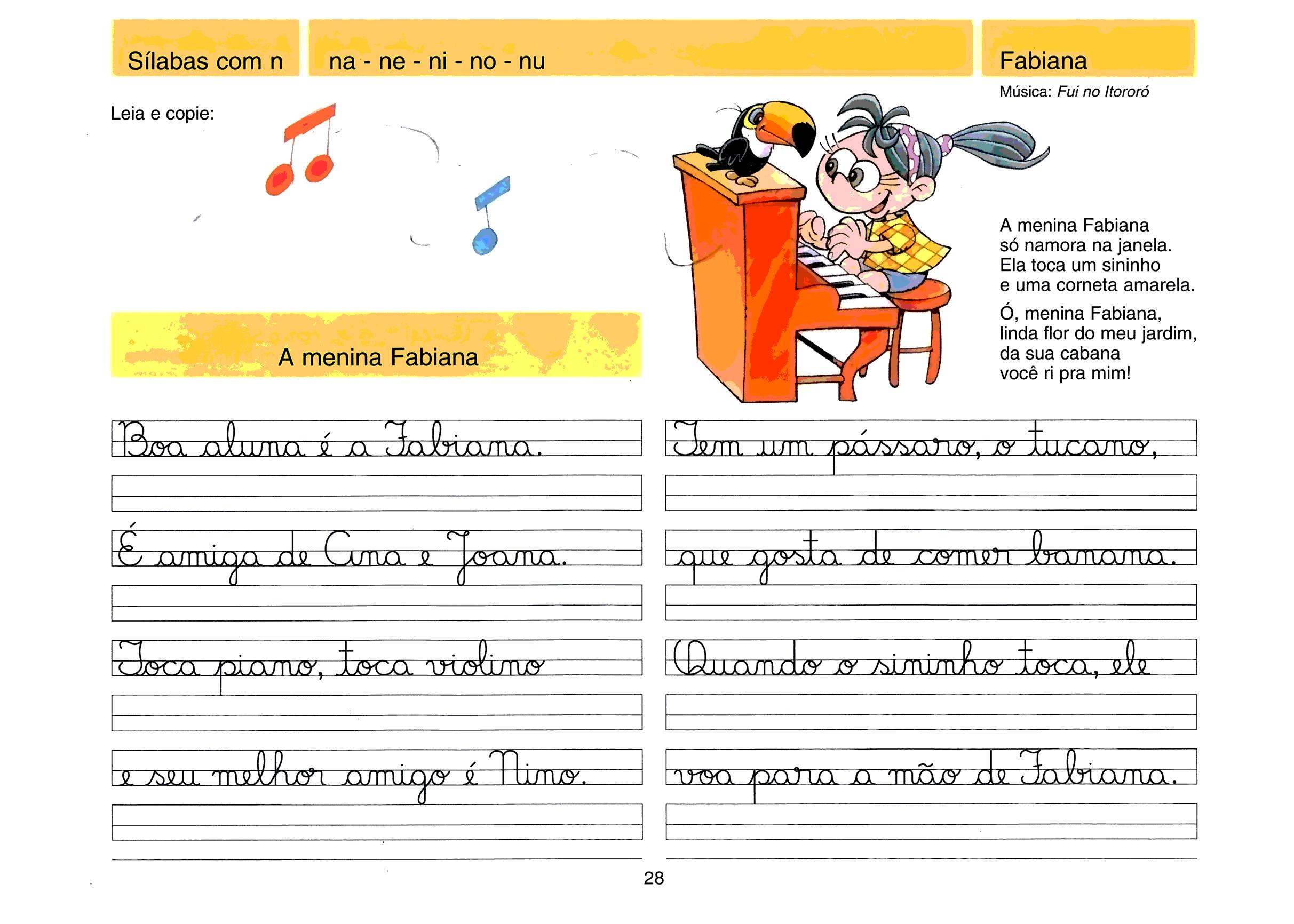 Caligrafia - sílabas com N