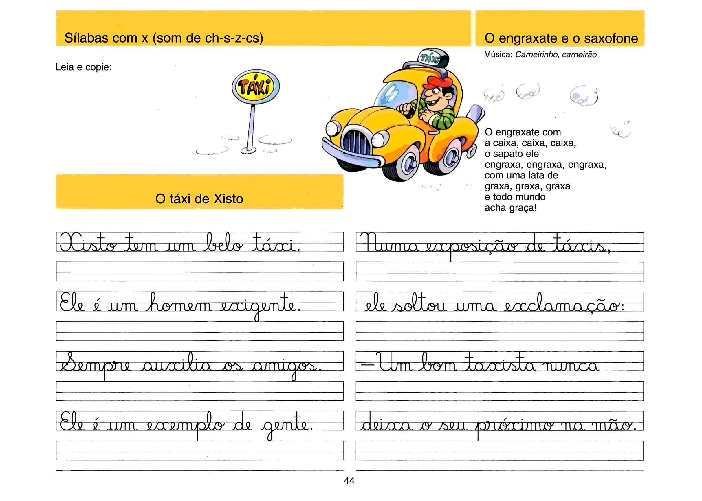 Caligrafia - sílabas com X (som de CH, S, Z e CS)